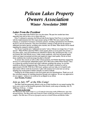 Winter newsletter template - Pelican Lakes Association - pelicanlakesassociation