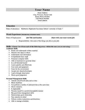 16 Printable High School Student Resume With No Work Experience