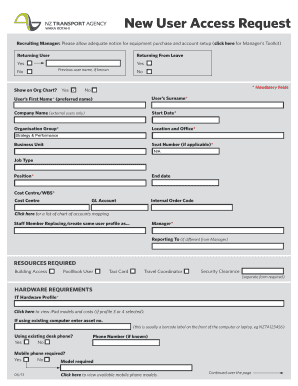 New user access request form fill online printable for User access request form template