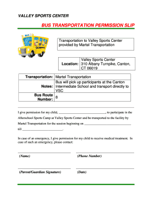transportation permission slip template Forms - Fillable & Printable ...