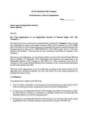 on the letterhead of the company draft directors letter