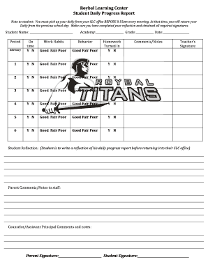 daily progress report for students Forms and Templates Fillable