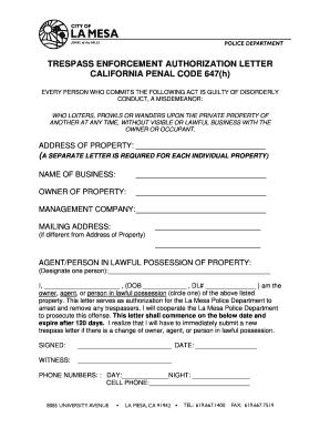 Fillable Online TRESPASS ENFORCEMENT AUTHORIZATION LETTER CALIFORNIA