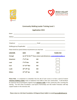 Community Walking Leader Training Level 1 Application 2015