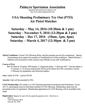USA Shooting Preliminary Try Out PTO Air Pistol Matches