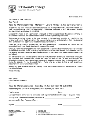 Thank you letter for work experience placement forms and templates 166 15 year 10 work experience letter st edwardscouk st edwards co spiritdancerdesigns Choice Image