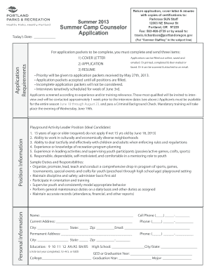 Fillable summer camp counselor cover letter - Edit Online ...