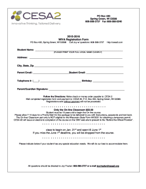 2015-2016 WIVA Registration Form class to begin on Jan. 21st and