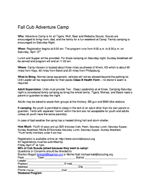 Fall Cub Adventure Camp - Coronado Area Council - storage coronadoscout