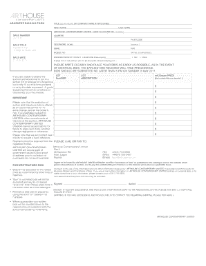 Fillable Online ABSENTEE BIDDING FORM TITLE EG MR MRS DR OR