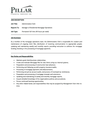 JOB DESCRIPTION Job Title: Administrative Clerk Reports To ...
