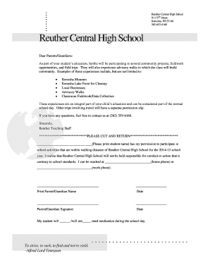 Walking Field Trip Permission Slip - Reuther Central High School - reuther kusd