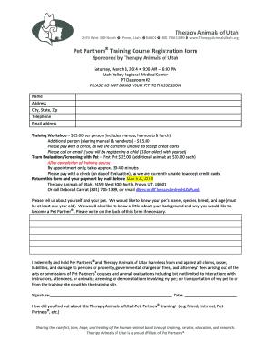 Fillable Online therapyanimalsutah TAU Training Course Registration