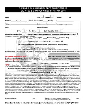 Fillable Online A PDF Grappling Registration Form - Karate