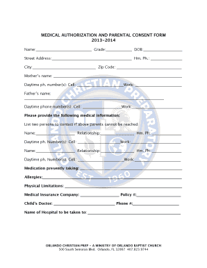 MEDICAL AUTHORIZATION AND PARENTAL CONSENT FORM - orlandochristianprep