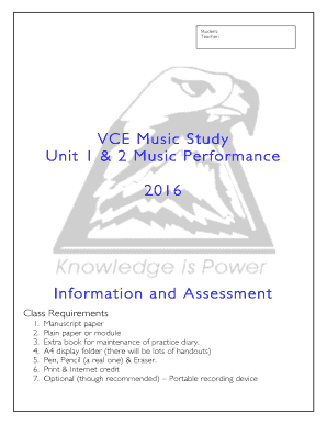 Music Performance Unit 1&2 VCE Document