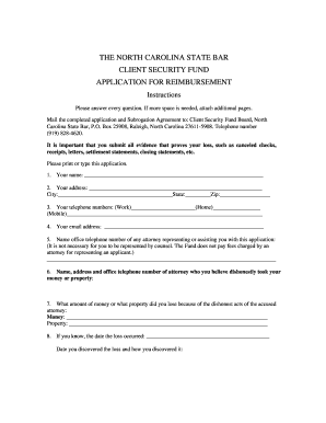 Editable letter for advance payment against work order fill out bapplicationb for client security fund bnorth carolinab state bar spiritdancerdesigns Image collections
