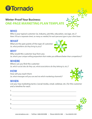 Winter Proof Your Business ONE PAGE MARKETING PLAN TEMPLATE