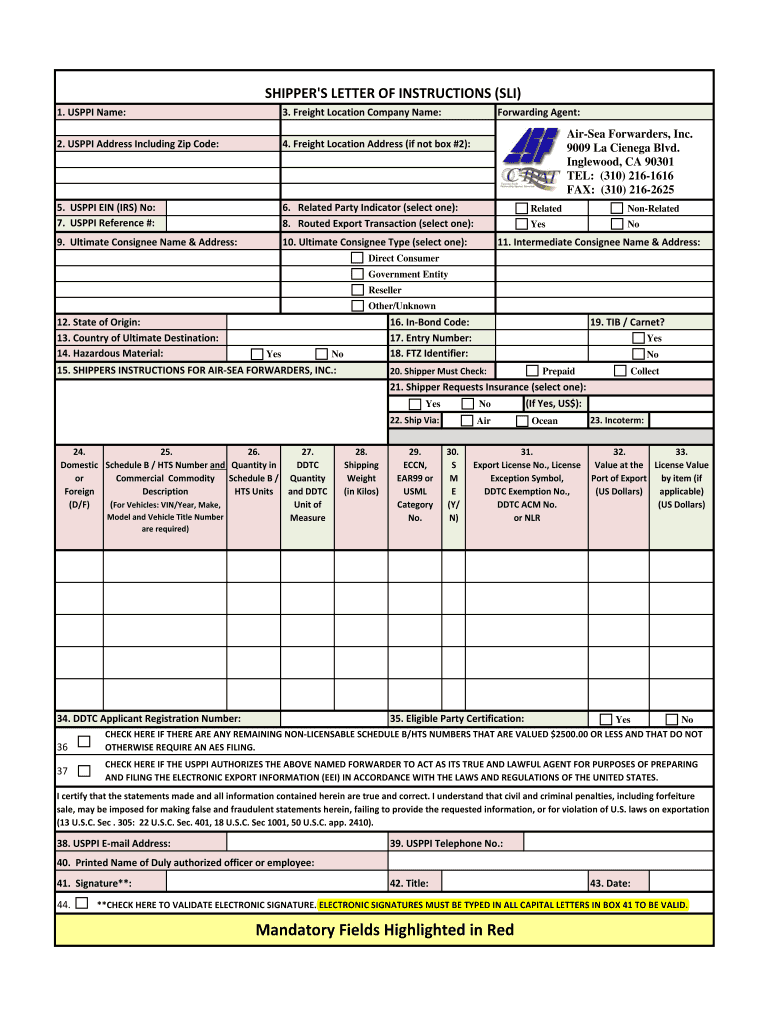 Shippers Letter of Instructions Form (PDF) - Air-Sea Forwarders, Inc