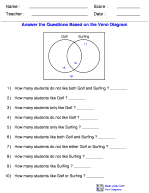 Fillable online answer the questions based on the venn diagram fax fill online ccuart Image collections