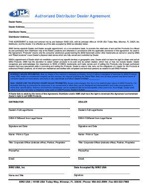 Submit agreement between distributor and dealer PDF Forms