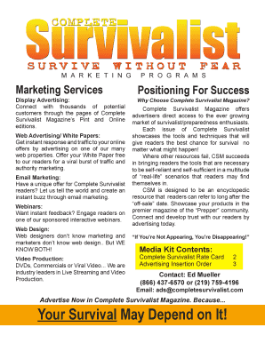 To Download a PDF of Our Media Kit - Complete Survivalist