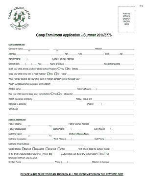 graphic regarding Printable Fill in the Blank Camp Letters titled Camp Enrollment Program Summer season 20165776 Fill On the web