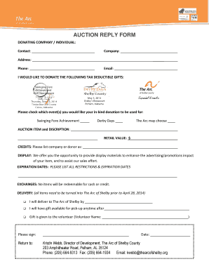 AUCTION REPLY FORM - The Arc of Shelby - thearcofshelby