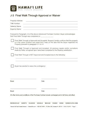 Fillable Online J3 Final Walk Through - Hawaii Life Fax Email ...