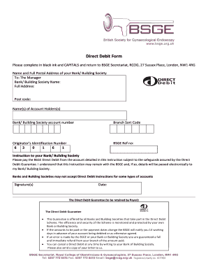 Direct Debit Form - BSGE - bsge org