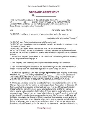 Fillable Online Sample Of BLHOA Storage Agreement Form