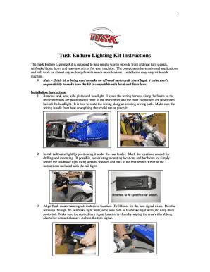 Tusk Enduro Lighting Kit Instructions - Fill Online, Printable, Fillable,  Blank   PDFfillerPDFfiller