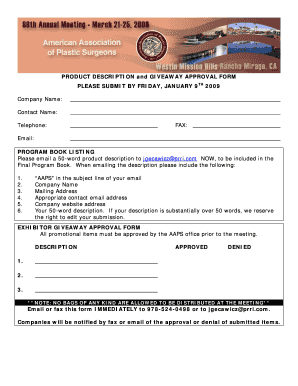 Fillable Online aaps1921 EXHIBITOR GIVEAWAY APPROVAL FORM