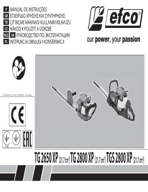 Fillable Online efco TG 2650 XP(21 7 cm3) TG 2800 XP(21 7