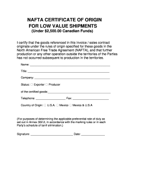 graphic regarding Printable Nafta Form called NAFTA Certification OF ORIGIN FOR Reduced Price tag SHIPMENTS Fill