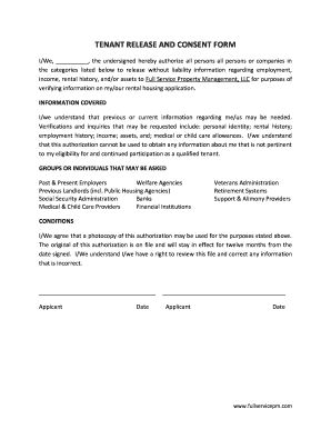 Please Sign Release And Consent Form Tenant - Fill Online ...