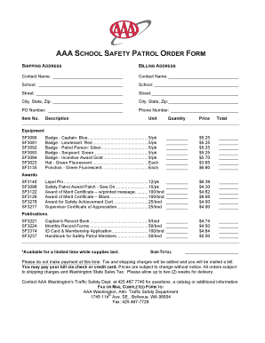 Fillable Online AAA SCHOOL SAFETY PATROL ORDER FORM - AAA ...