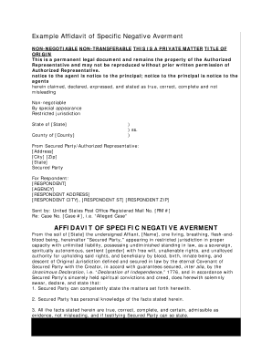 affidavit negative averment form