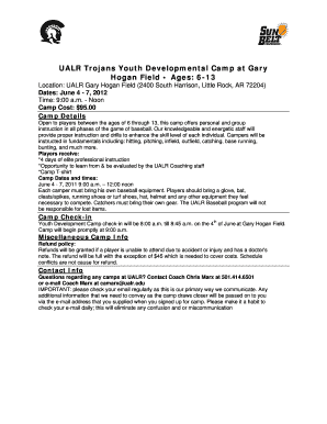 Youth Camp Session Sign-up Sheet - UALR Athletics