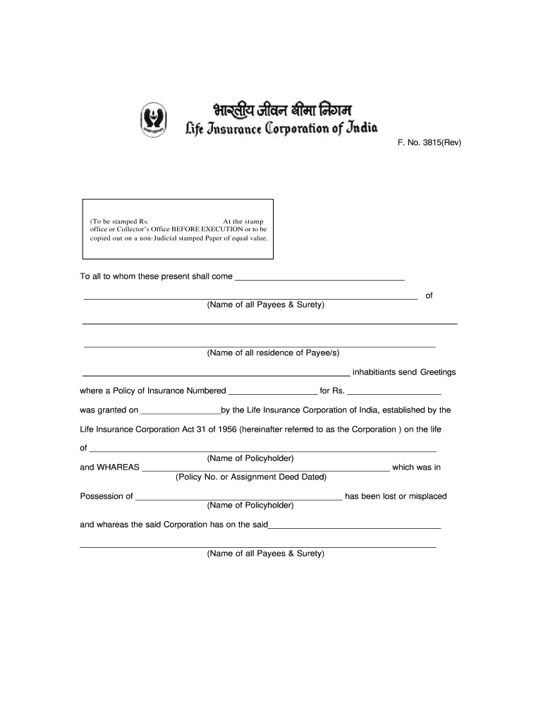 Lic Form 3815 Fill Online Printable Fillable Blank
