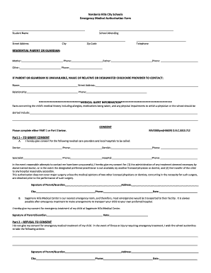 medical emergency form for schools