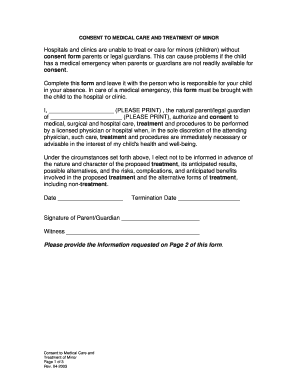 Form - Consent to Medical Care and Treatment of Minor 0405