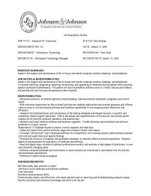 Fillable Online Job Description Outline JOB TITLE Associate PC ...