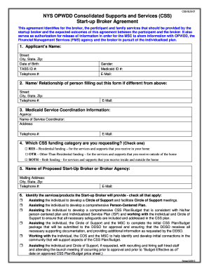 opwdd startup broker agreement form