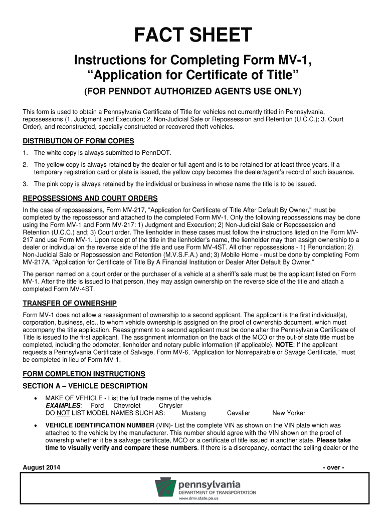 image about Printable Mv-1 Form, Pennsylvania titled 2014 PA Guidelines for Finishing Variety MV-1 Fill On the web
