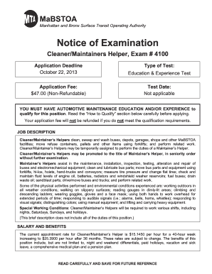 Fillable Online mta Cleaner/Maintainers Helper, Exam # 4100