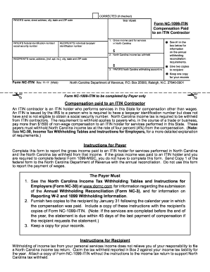 1099 form nc  Fillable Online dor state nc Form NC-11-ITIN - NC ...