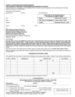 karvy computershare signature verification form - Edit
