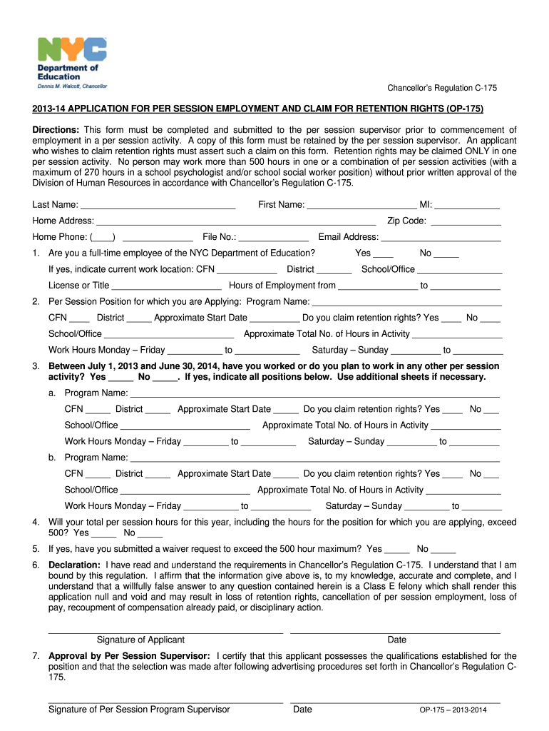 2014 Form NYC DOE OP-175 Fill Online, Printable, Fillable ...