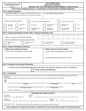 substitute form w-9  Fillable Online comptroller nyc Substitute Form W-5 - NYC ...